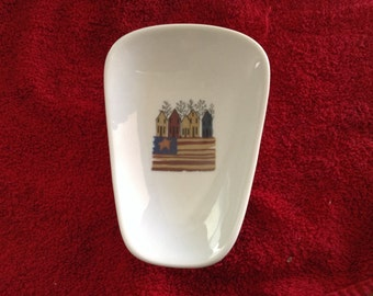 """Ceramic Spoon Rest with  Americia Row of Houses  5"""" Long And 3 1/2 inches at Top of Spoon"""