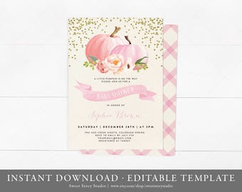 Watercolor Pumpkin Fall Baby Shower Invitation Card | Instant Download, Editable, Printable | A Little Pumpkin is on the way | DC004