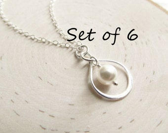 Bridesmaid Necklace Gift Set of 6, Silver Infinity Necklace, Solid Sterling Silver with Pearl, Pearl Bridesmaid Necklace, You Choose Color