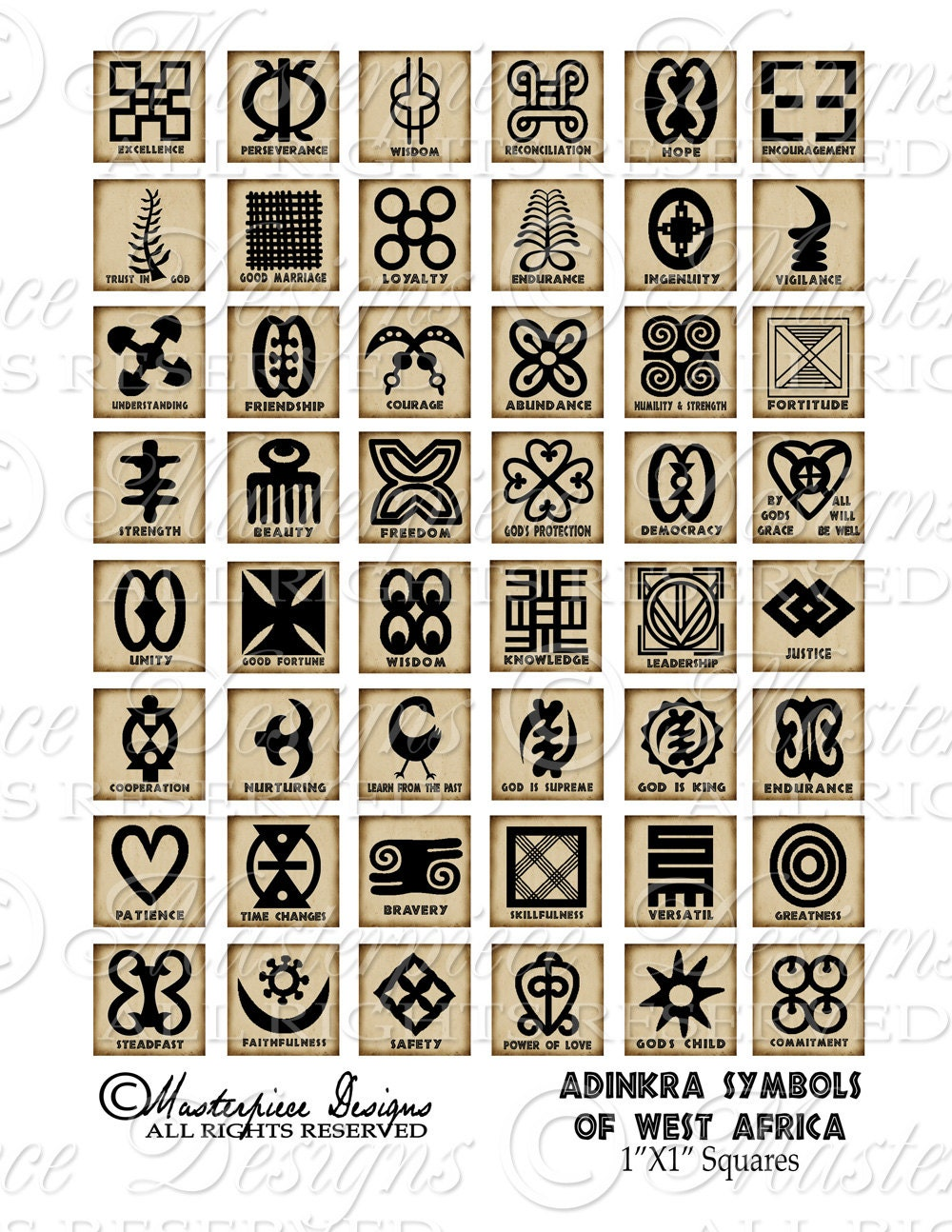 Adinkra symbols of west africa printable african symbols this is a digital file buycottarizona Gallery