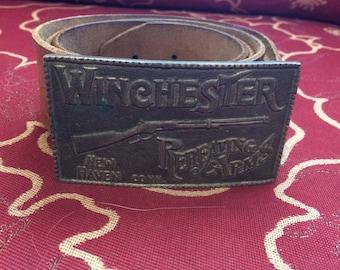 Vintage Winchester belt buckle with handmade belt! Different! Large belt!