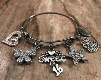 Handcrafted bling Sweet 16 stainless steel expandable charmed bradelet  celebration birrhday party gift adjustable butterfly  cake star