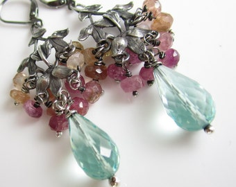 Flower Field Earrings - Sterling Silver Leaf Chandeliers with Tourmaline and Aqua Quartz