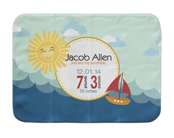 Custom Receiving Blanket, Sunshine Sailboat, Personalized Baby Blanket, Nautical Baby Birth Stats Blanket, Birth Announcement Crib Blanket