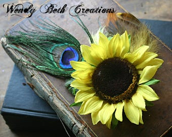 Sun Bright Hair Clip  Fascinator - Peacock Feather, Fairy, Tribal, Belly Dance, Fall, Sunflower, Renaissance Festival, Yellow