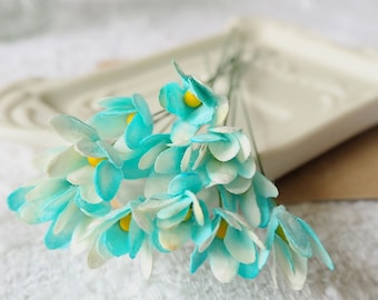 50pcs of Blue Gypsophila Flower made from Mulberry Paper for DIY Scrapbooking Cards & other Decorations