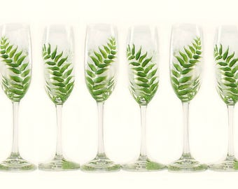 6 Woodland Wedding Party Glasses - Choice of Stemware, Forest Green Ferns - Personalized Rustic Wedding Flutes, Groomsmen's Beer Glasses
