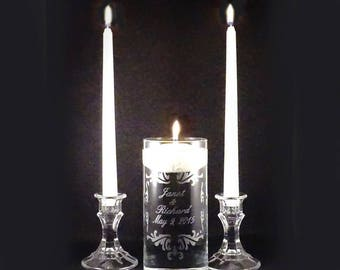 Custom Personalized Wedding Unity Candle Vase Set - Personalized Etched Glass Vase -  Unity Candle Set