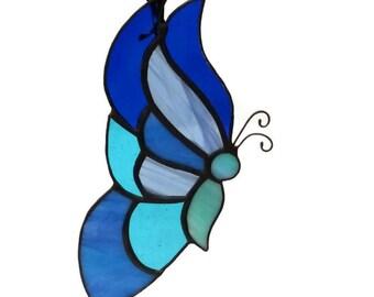 Stained Glass Butterfly Suncatcher, Blue Butterfly, Handmade, Window Decoration