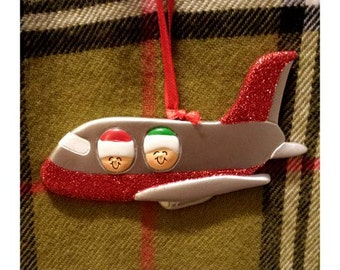 Personalized Christmas Ornament Couple's Airplane Ride/Couple's Honeymoon - Our First Christmas Vacation Ornament - Travel Ornament