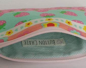 Little Zipper Pouch - Strawberry Stripe // Coin Purse // Gift Card Holder // Party Favor // Stocking Stuffer // Gift for Kids