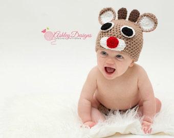 Crochet Pattern Rudolph Beanie (Newborn - Adult) - PDF - Instant Digital Download