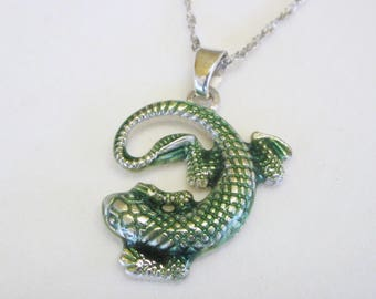 Silver Gecko pendant; Silver necklace with Gecko pendant; Geko necklace; Geko Pendant