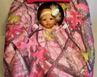 "Car Seat Cover Sassy Girl Bright Pink Camo Baby! True Timber Cozy Hand Made Fleece Infant Carrier Custom Embroidery ""My Little Dear"" Antlers"
