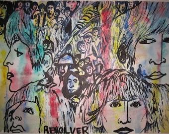 Revolver Original Art Greeting Card