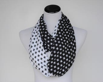 Black White Scarf Infinity Scarf Cross Scarf Swiss Cross Scarf Colorblock Scarf Loop Scarf Circle Scarf Soft Jersey Knit Scarf