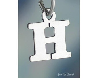 Sterling Silver Small Letter H Charm Initial Capital Letters Solid 925