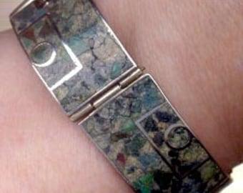 Mexican Sterling Bracelet: E. Brito Crushed Stone Bracelet