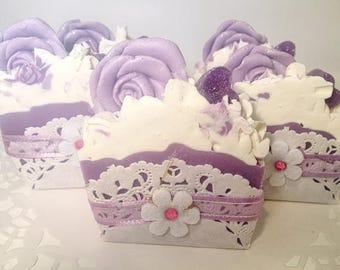 Lavender Coconut Milk Mini Soap-Cake Slice-Handmade-Artisan-Cold Process-Soap-Vegan-Luxurious-Lavender-Gift-For Her-Abbotsford-BC-Canada