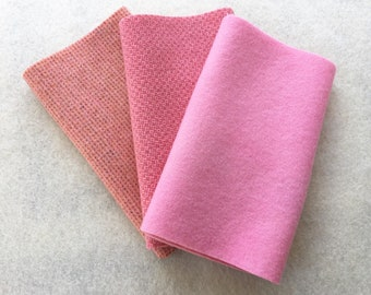 """Hand Dyed Felted Wool, BALLET, Three 6.5"""" x 16"""" pieces in Light, Clear Pink"""