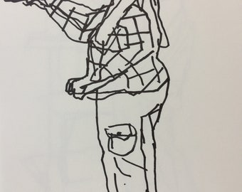 "1""Artist at Work"" Original Drawing 8"" x 8"""