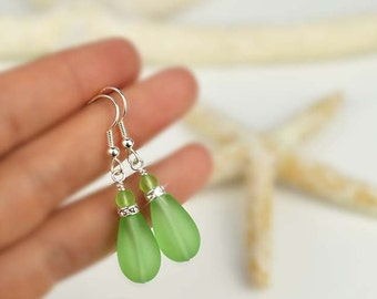 Sea glass earrings with Swarovski crystals green sea glass earrings sea glass jewelry Christmas gift for mom gift for sister gift for wife