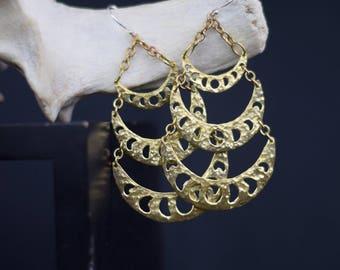 Moon Phase Drop Earrings Gold