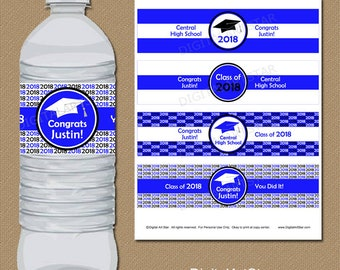 Grad Party Decorations, Royal Blue Grad Party Decor, Graduation Water Bottle Labels, Personalized Graduation Labels, Graduation Ideas G1