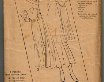 1930s Excella Patterns E3976 Frock Dress Sewing Pattern Vintage Size 18 Art Deco Style