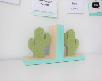 Cactus Bookends, Aqua Accent, Cactus Nursery, Cactus Kids Decor, Greenery, Succulent, Succulence, Green Cactus Decor, Cactus Wood Bookend,