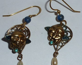 Vintage Man-in-the-Moon Earrings