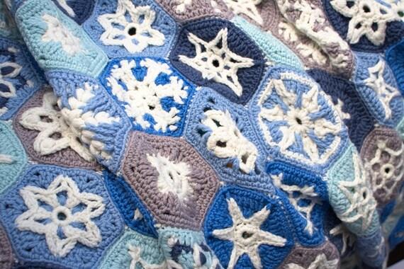 Crochet Pattern Festive Snowy Blanket Snowflake Hexagon