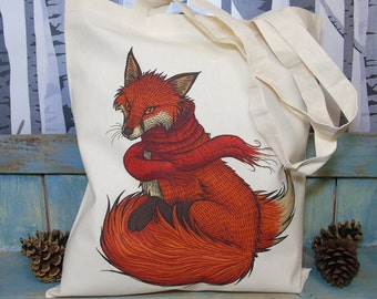 Winter Fox Illustration Festive Eco Tote Bag ~ 100% Cotton Long Handles