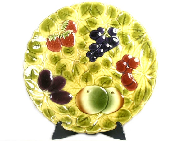 Vintage French Sarreguemines Platter with Fruit
