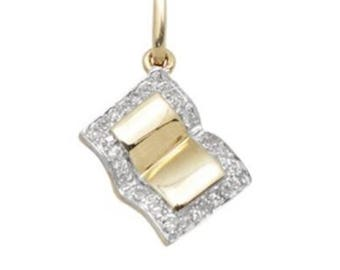 14k White Diamond and Solid Gold Book Pendant Charm, 14k Gold & Diamond Open Book Pendant Charm, Fine Jewelry Supplies