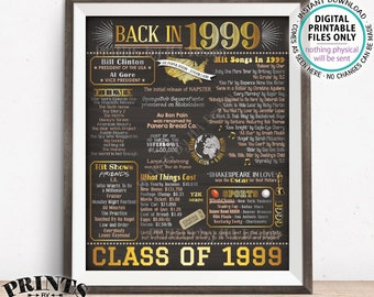 """Class of 1999 Reunion 19 Year Reunion Back in 1999 Flashback to 1999 19 Years Ago, Gold, PRINTABLE 8x10/16x20"""" Chalkboard Style Sign <ID>"""