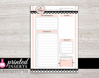 A5 Printed Planner Inserts - Daily - with Schedule or To Do - Filofax A5 - Kikki K Large - LV GM - Design: Mademoiselle