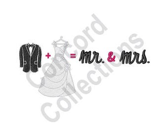 Wedding Math - Machine Embroidery Design, Bride And Groom, Mr. & Mrs.