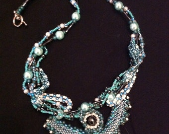 Teal & Hematite Whimsy  necklace