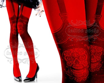 Tattoo Tights,  Day of the Dead garters illusion print Red one size full length closed toe printed tights pantyhose