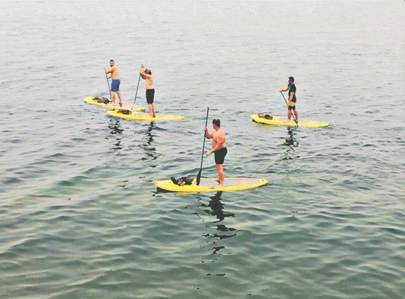Men paddle boarders on lake art print watercolor painting modern original artwork contemporary summer water sports