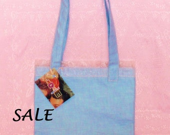 LAST ONE! Pink Ribbon and Blue Chambray Denim Classic Purse Tote - CLEARANCE