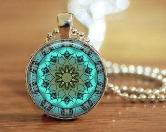 Teal Mandala Pendant, Mandala Jewelry, Teal Mandala Keyring, Mandala Key Fob, Mandala Necklace, Mandala Art, Turquoise Mandala