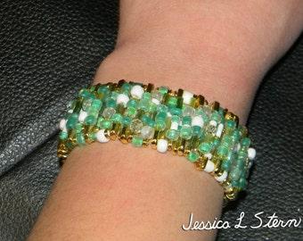 Green Safety Pin Bracelet
