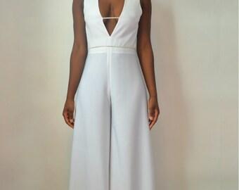 Sophia Open Back Bridal Jumpsuit.