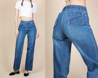 Vintage Mom Jeans - Small // 80s High Waisted Straight Leg Denim Pants