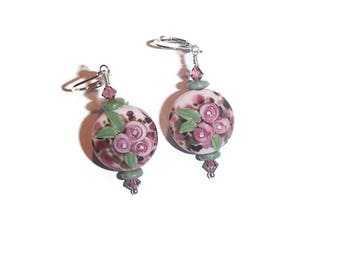Lampwork Glass Floral Earrings Purple Feminine Earrings E103