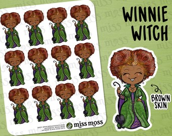Winnie Winifred Sanderson BROWN SKIN Halloween Stickers - Erin Condren, Happy Planner, Kikki K, Filofax, Decorative