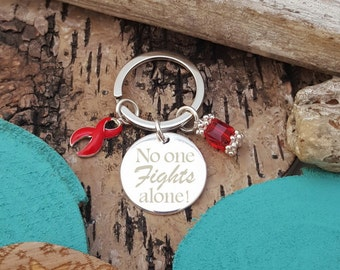 RE-3 No One Fights Alone Keychain, Awareness , Alcohol Abuse, Sober Recovery, Clean Date Charm