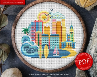 Modern Cross Stitch Pattern of Honolulu for Instant Download *P085 | Easy Cross Stitch|Counted Cross Stitch|Embroidery Design